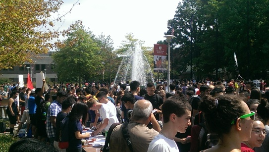 Students flood the Academic Mall, eager to get involved in the many clubs and organizations offered on campus.